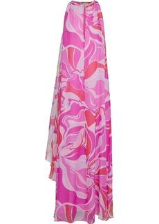 Emilio Pucci Woman Draped Printed Silk-chiffon Maxi Dress Fuchsia