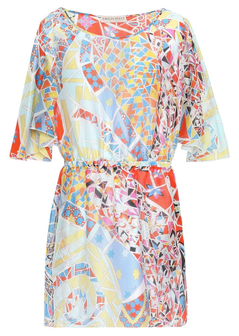 Emilio Pucci Woman Draped Printed Silk-georgette Mini Dress Sky Blue