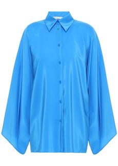 Emilio Pucci Woman Draped Silk Shirt Azure