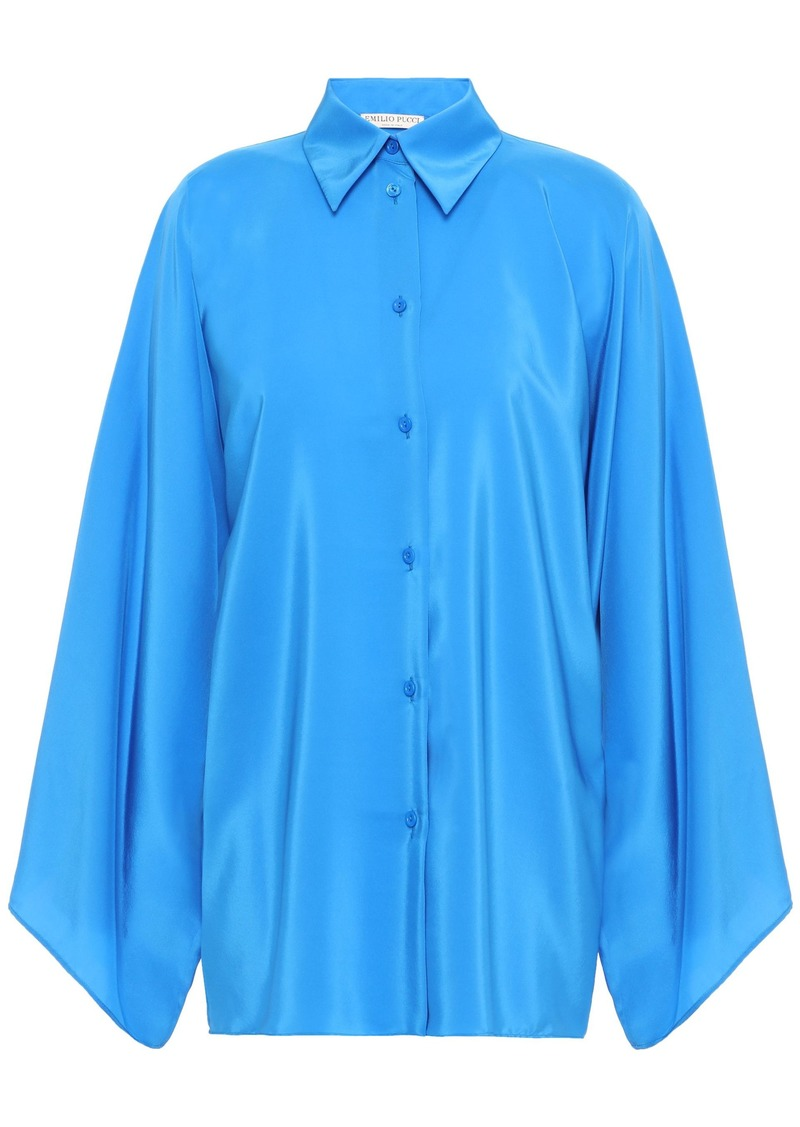 Emilio Pucci Woman Draped Silk Shirt Azure
