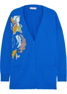 Emilio Pucci Woman Embellished Cashmere Cardigan Royal Blue
