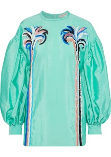 Emilio Pucci Woman Embellished Crinkled-shell Blouse Mint