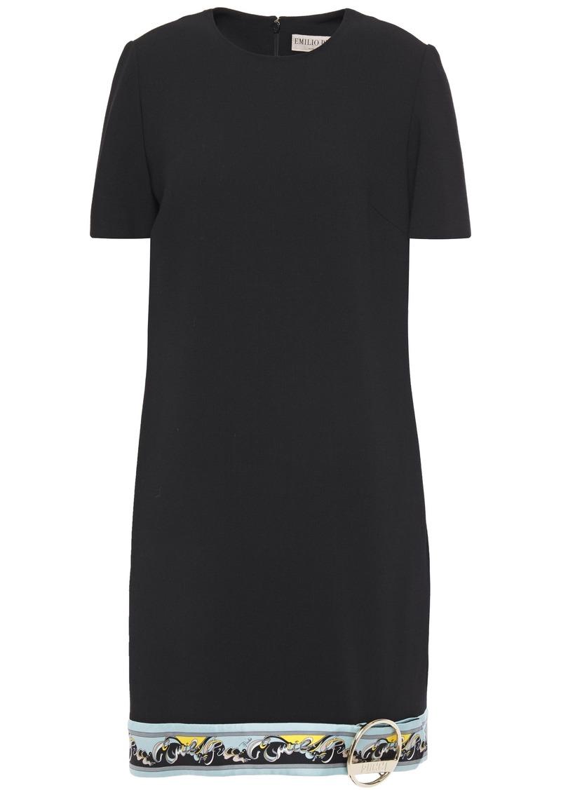 Emilio Pucci Woman Embellished Printed Twill-trimmed Wool-blend Mini Dress Black