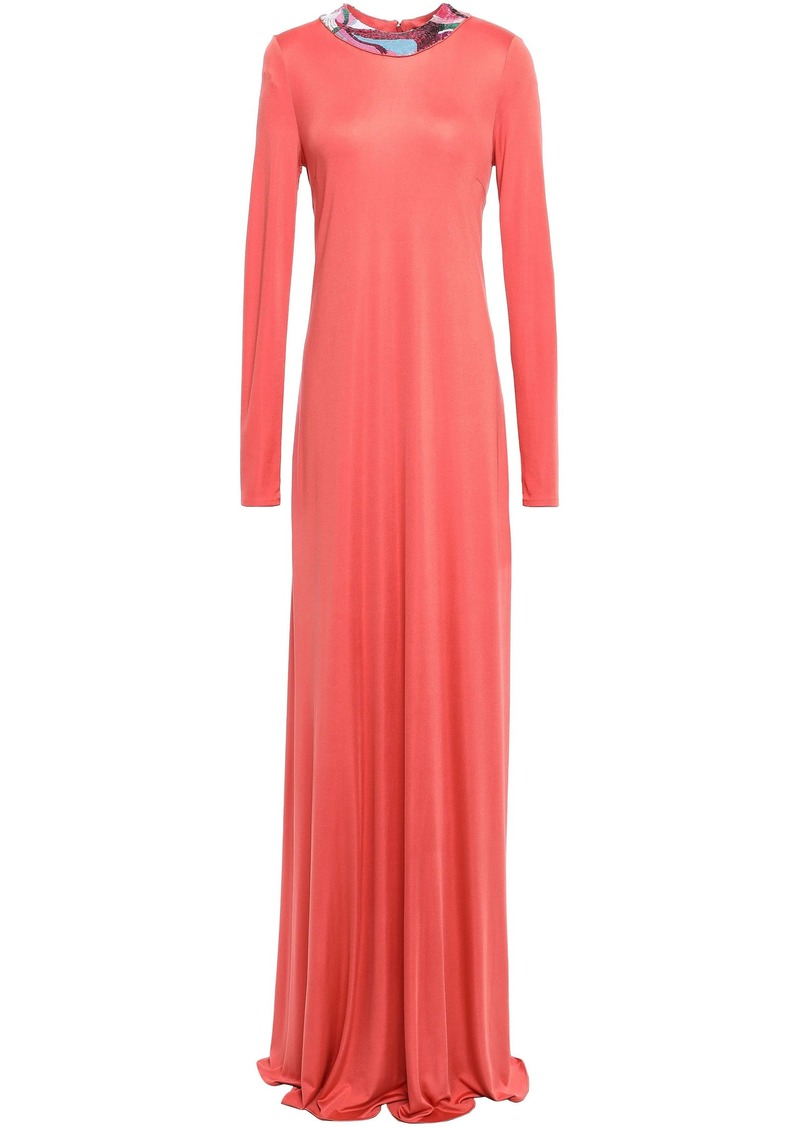 Emilio Pucci Woman Embellished Silk-jersey Gown Antique Rose