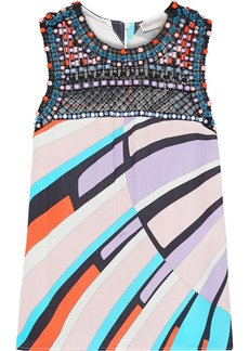 Emilio Pucci Woman Embellished Tulle-paneled Printed Gauze Top Multicolor