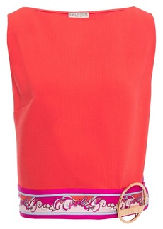 Emilio Pucci Woman Embellished Wool-blend Crepe Top Coral