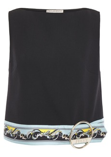 Emilio Pucci Woman Embellished Wool-blend Crepe Top Black