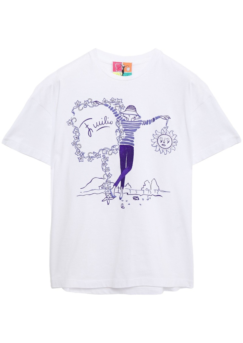 Emilio Pucci Woman Embroidered Cotton-jersey T-shirt Purple
