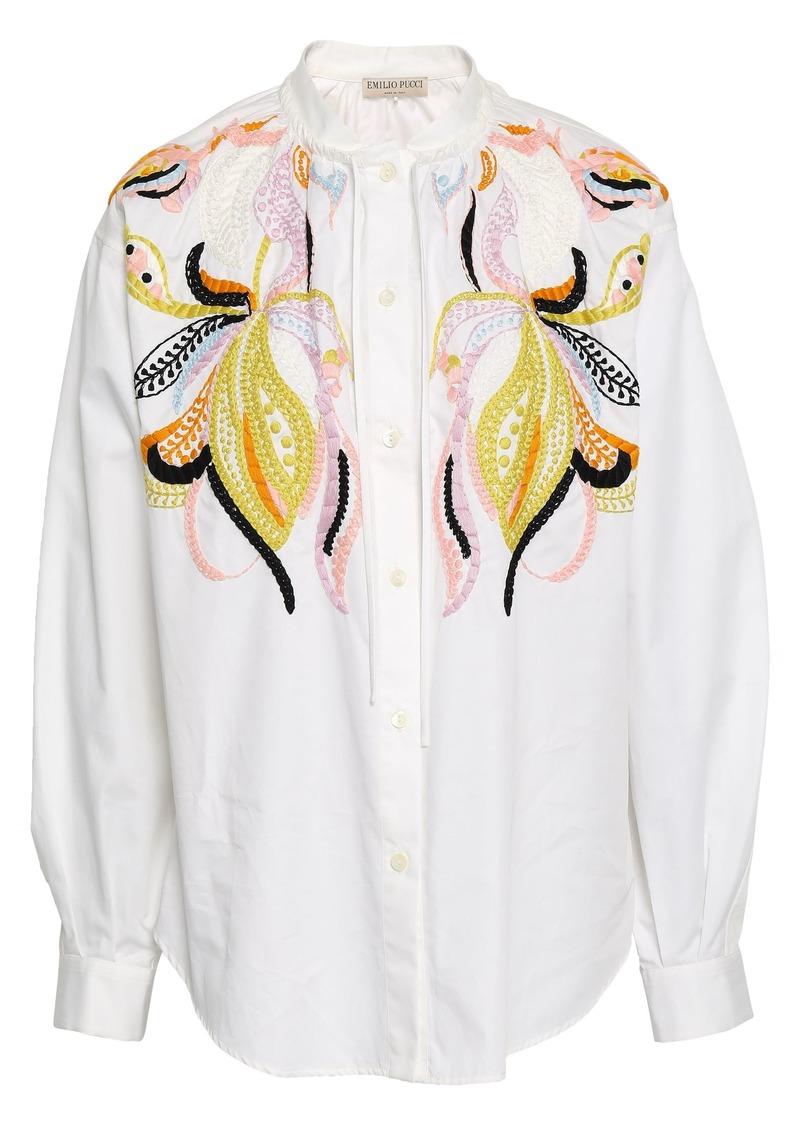 Emilio Pucci Woman Embroidered Cotton-poplin Shirt White