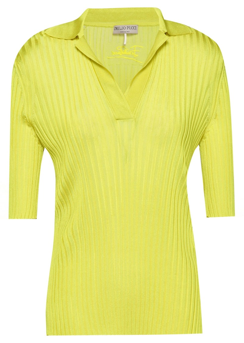 Emilio Pucci Woman Embroidered Ribbed-knit Top Chartreuse