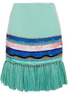 Emilio Pucci Woman Faux Raffia-trimmed Embellished Crepe Mini Skirt Mint