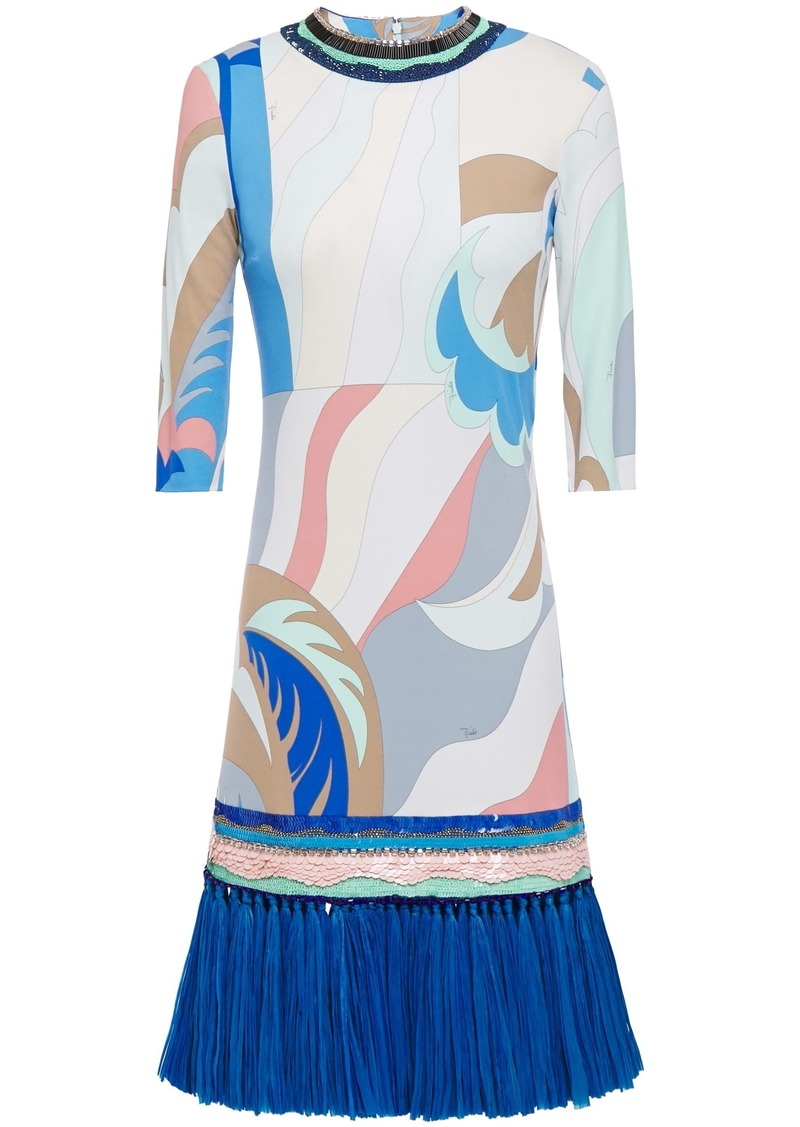Emilio Pucci Woman Faux Raffia-trimmed Embellished Printed Jersey Mini Dress Light Blue