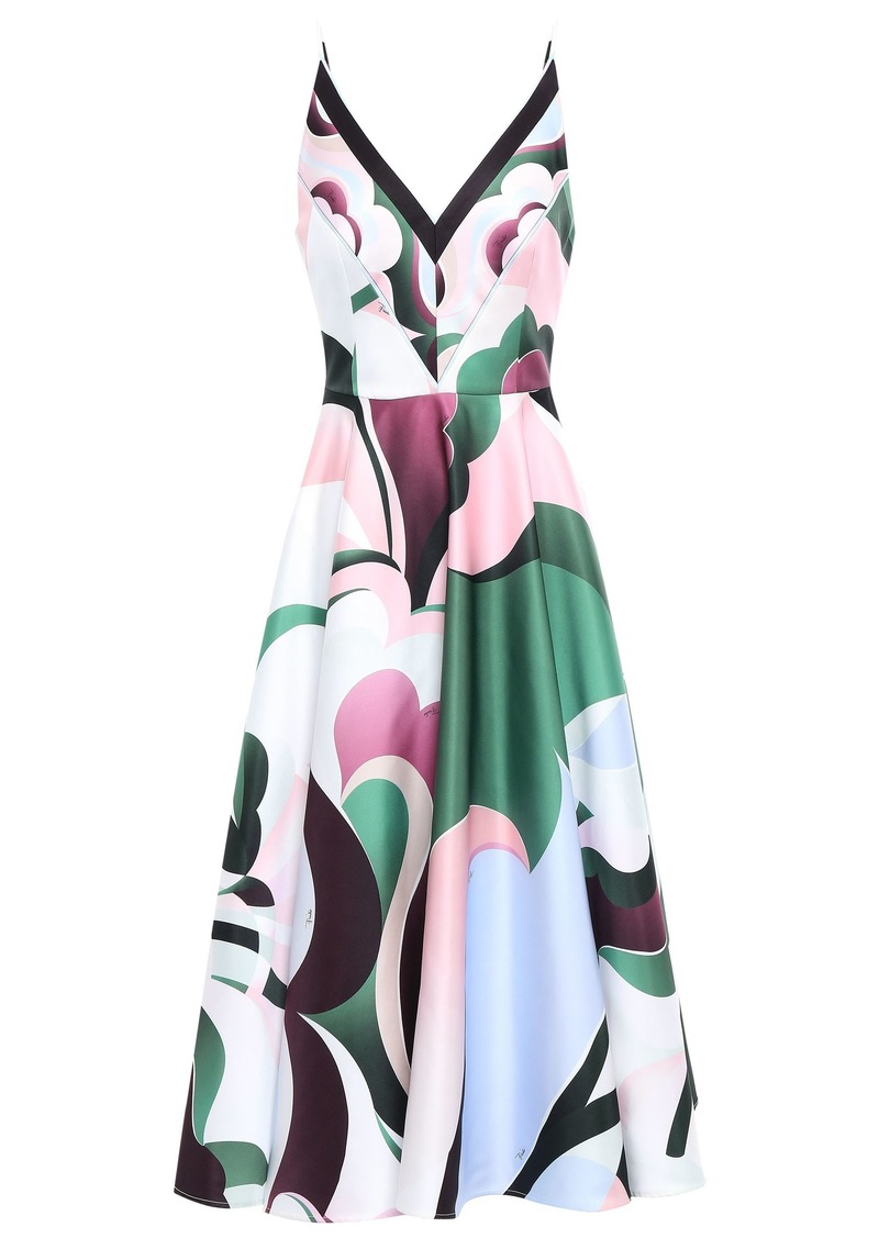 Emilio Pucci Woman Flared Printed Satin-crepe Midi Dress Baby Pink