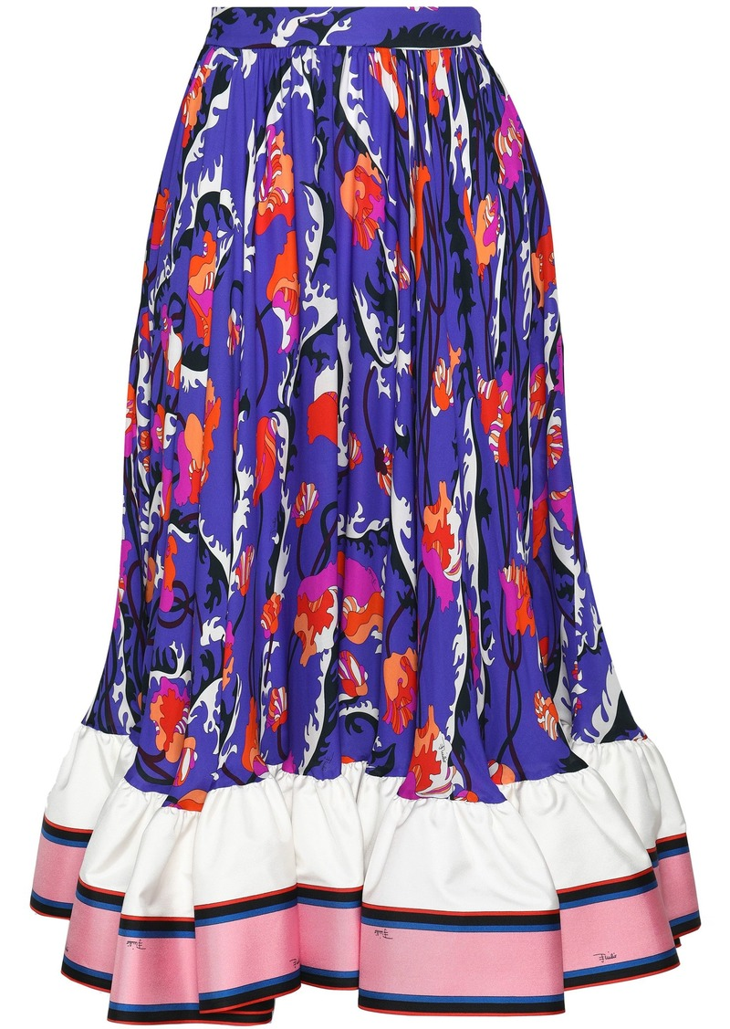 Emilio Pucci Woman Flared Satin-trimmed Printed Silk-crepe Midi Skirt Royal Blue