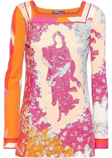 Emilio Pucci Woman Floral-print Jersey Top Peach