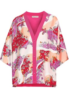 Emilio Pucci Woman Floral-print Silk-twill And Wool Cardigan Pink