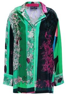 Emilio Pucci Woman Floral-print Velvet Shirt Bright Green