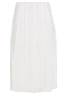 Emilio Pucci Woman Frayed Gauze Midi Skirt White