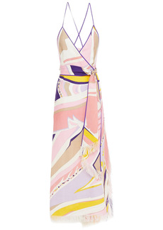 Emilio Pucci Woman Frayed Printed Linen-gauze Maxi Dress Baby Pink