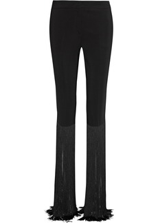 Emilio Pucci Woman Fringe-trimmed Cady Slim-leg Pants Black