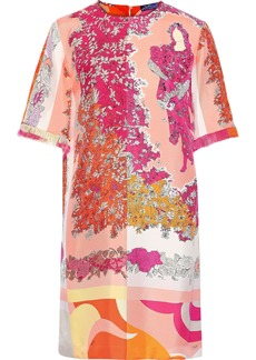 Emilio Pucci Woman Fringe-trimmed Floral-print Silk-twill Mini Dress Pastel Orange
