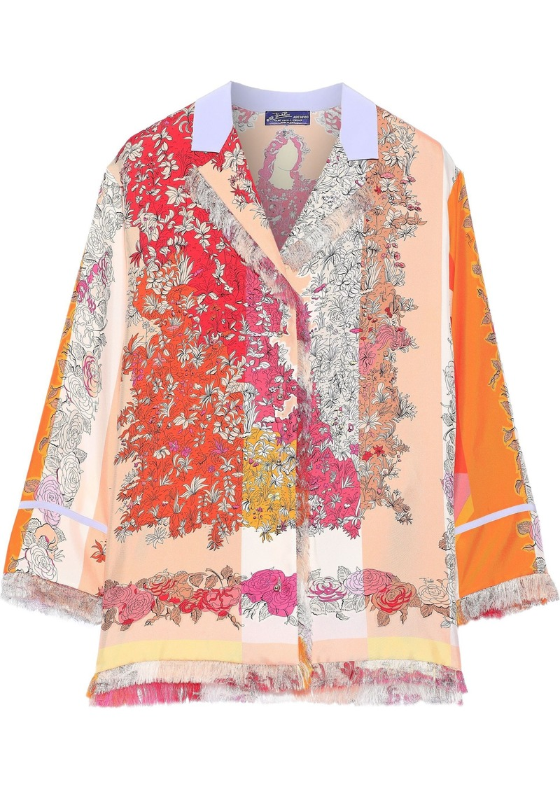 Emilio Pucci Woman Fringe-trimmed Floral-print Silk-twill Shirt Pastel Orange