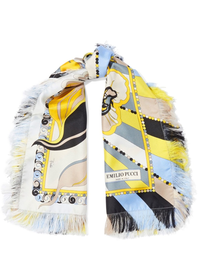 Emilio Pucci Woman Fringed Printed Silk-twill Scarf Yellow