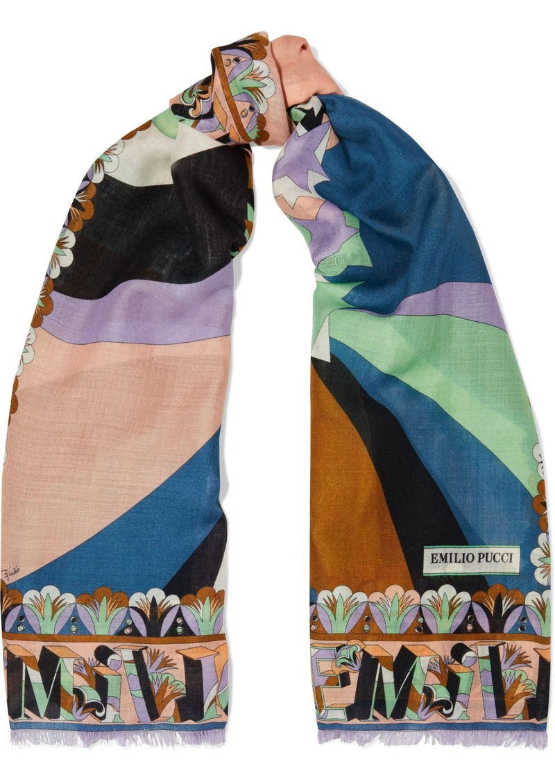 Emilio Pucci Woman Fringed Printed Wool And Silk-blend Scarf Teal