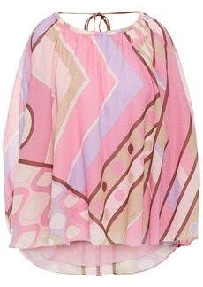 Emilio Pucci Woman Gathered Printed Cotton-voile Blouse Pink