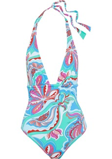 Emilio Pucci Woman Gathered Printed Halterneck Swimsuit Turquoise