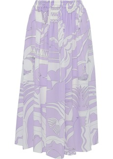 Emilio Pucci Woman Gathered Printed Silk Crepe De Chine Midi Skirt Lavender