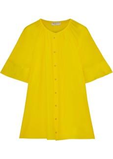 Emilio Pucci Woman Gathered Silk-crepe Blouse Yellow