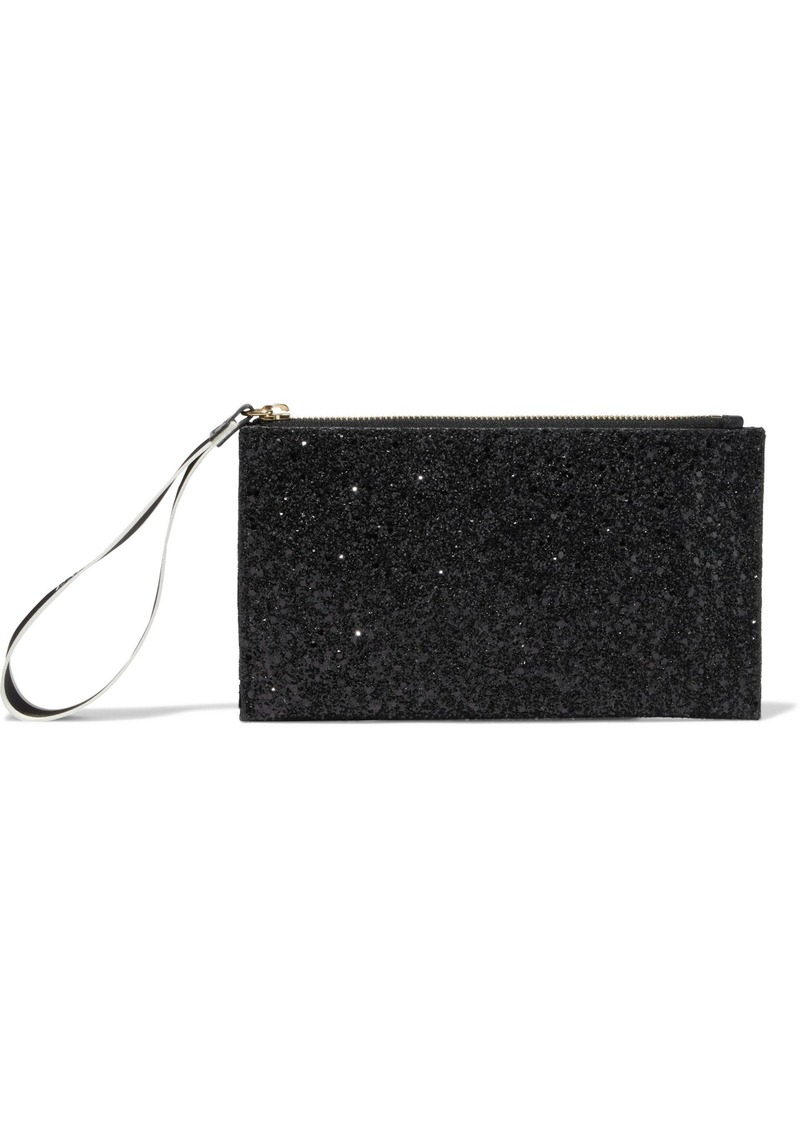 Emilio Pucci Woman Glittered Canvas And Velvet Clutch Black