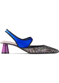 Emilio Pucci Woman Glittered Neoprene Slingback Pumps Royal Blue