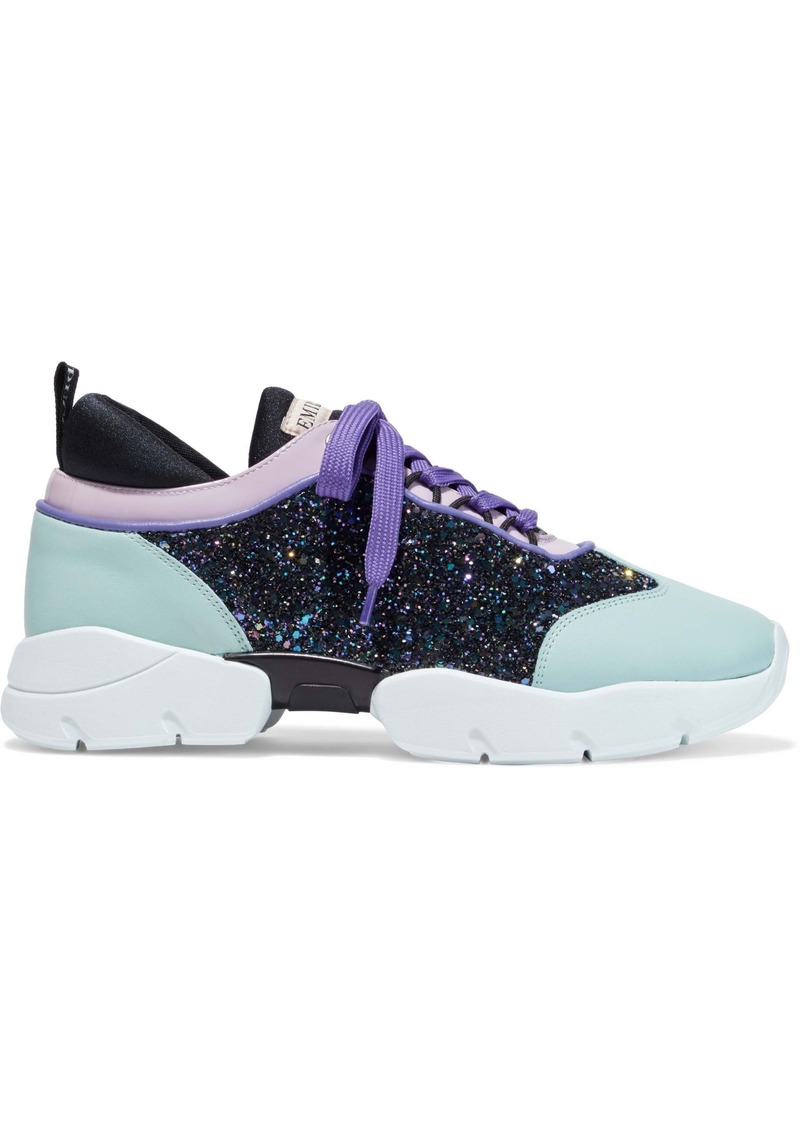 Emilio Pucci Woman Glittered Smooth And Patent-leather Sneakers Mint