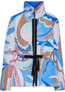 Emilio Pucci Woman Grosgrain-trimmed Printed Shell Padded Jacket Azure