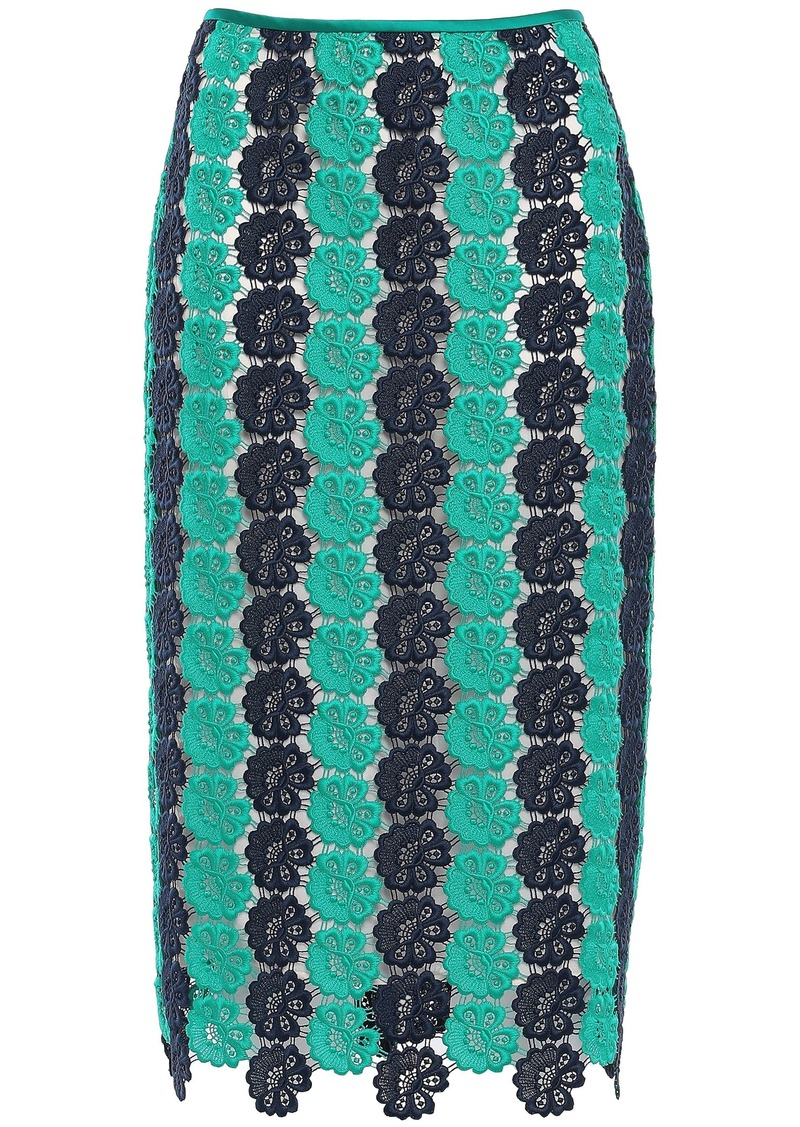 Emilio Pucci Woman Guipure Lace Pencil Skirt Turquoise