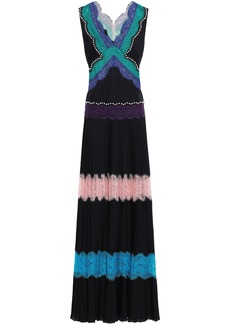 Emilio Pucci Woman Lace-paneled Studded Silk Crepe De Chine Gown Black