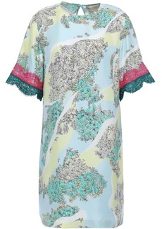 Emilio Pucci Woman Lace-trimmed Floral-print Silk-twill Mini Dress Sky Blue