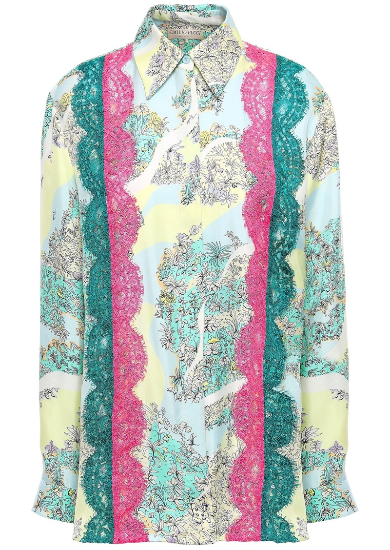 Emilio Pucci Woman Lace-trimmed Floral-print Silk-twill Shirt Sky Blue
