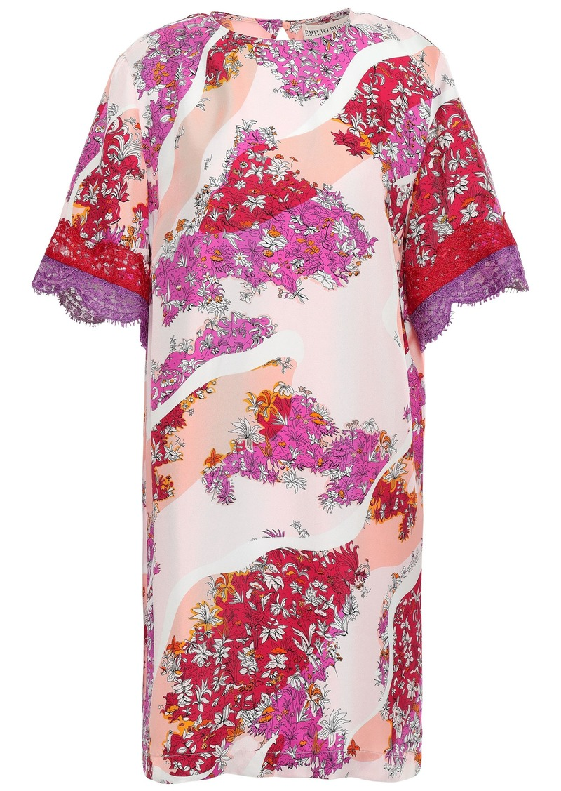 Emilio Pucci Woman Lace-trimmed Printed Silk-twill Mini Dress Peach