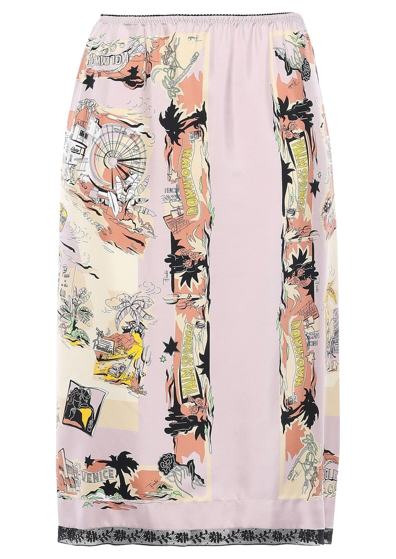 Emilio Pucci Woman Lace-trimmed Printed Silk-twill Pencil Skirt Lilac