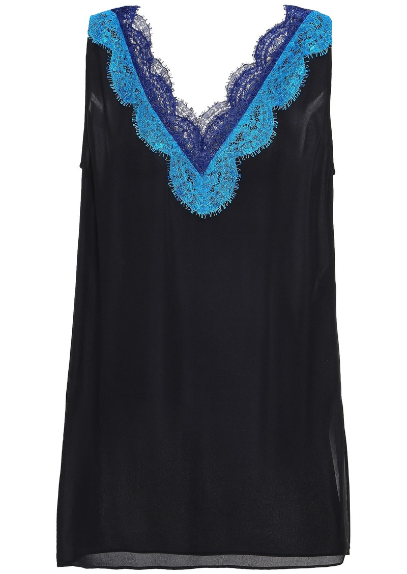 Emilio Pucci Woman Lace-trimmed Silk-georgette Top Black