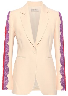 Emilio Pucci Woman Lace-trimmed Wool And Silk-blend Blazer Beige