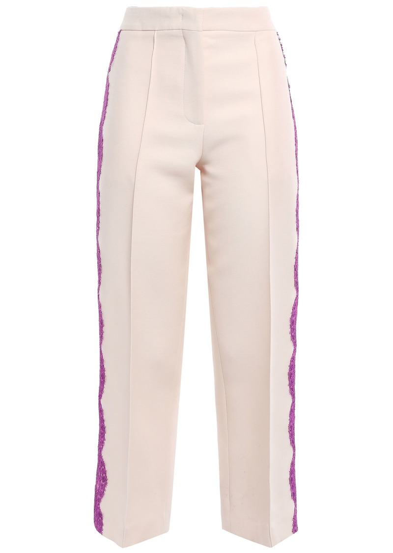 Emilio Pucci Woman Cropped Lace-trimmed Wool And Silk-blend Straight-leg Pants Beige