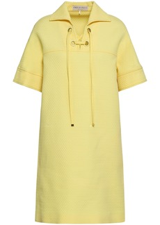 Emilio Pucci Woman Lace-up Cotton Wool And Silk-blend Matelassé Mini Dress Pastel Yellow