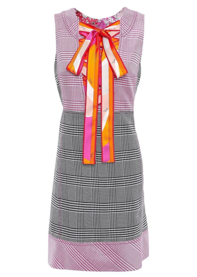 Emilio Pucci Woman Lace-up Prince Of Wales Checked Jacquard Mini Dress Pink