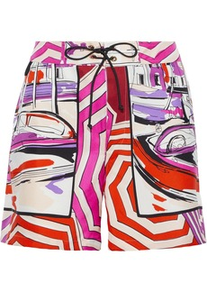 Emilio Pucci Woman Lace-up Printed Silk-twill Shorts Fuchsia