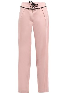 Emilio Pucci Woman Lace-up Wool-blend Crepe Straight-leg Pants Blush