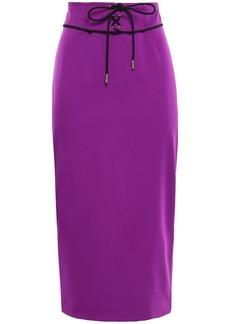 Emilio Pucci Woman Lace-up Wool-blend Midi Pencil Skirt Violet